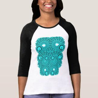 Camiseta del raglán del fractal de la turquesa