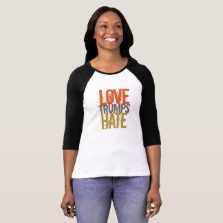 Camiseta Camiseta del raglán del odio de los triunfos del