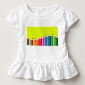 Camiseta del volante del niño con los lápices del