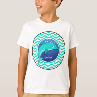 Camiseta Delfín; Aguamarina Chevron verde