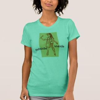 camiseta, dentro de, exterior, esposa camiseta
