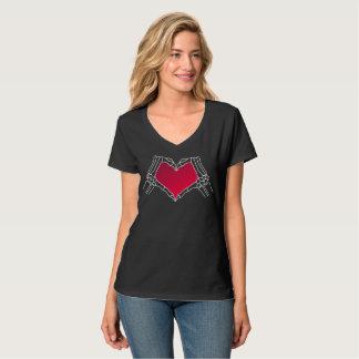 """Camiseta """"Día"""" del neón muerto de la camiseta, negro y rojo"""