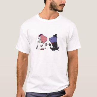 Camiseta Dibujo animado divertido del boda de novia y del