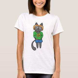 Camiseta Dibujo animado lindo del gato de moda
