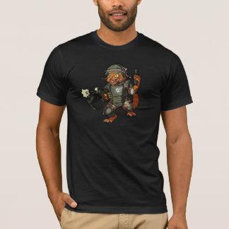 Camiseta Dibujo animado marino del arma de la leña del gato