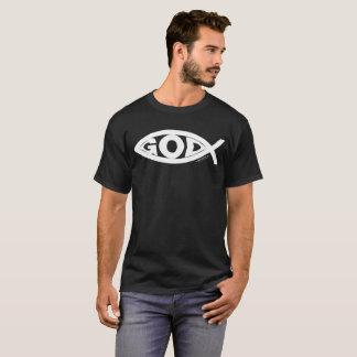 Camiseta DIOS dentro del diseño de los pescados:  Blanco