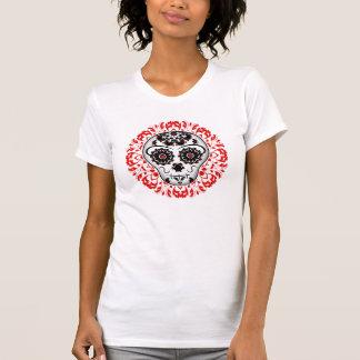 Camiseta Diseño bonito del cráneo del azúcar