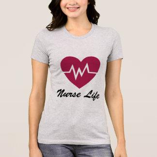 Camiseta Diseño del corazón de la vida EKG de la enfermera