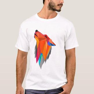 Camiseta Diseño hecho a mano geométrico del arte del lobo