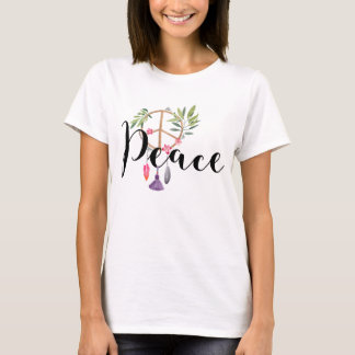 Camiseta Diseño moderno de la paz del estilo de Boho