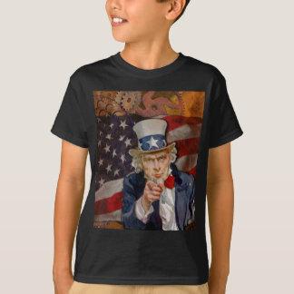 Camiseta Diseño patriótico de la bandera de Steampunk Sam