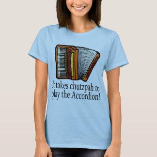 Camiseta divertida del acordeón para las señoras