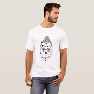 Camiseta divertida del cráneo del engranaje