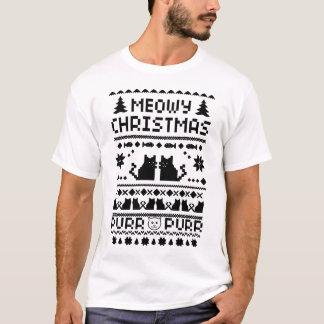 Camiseta divertida del gato feo del navidad de