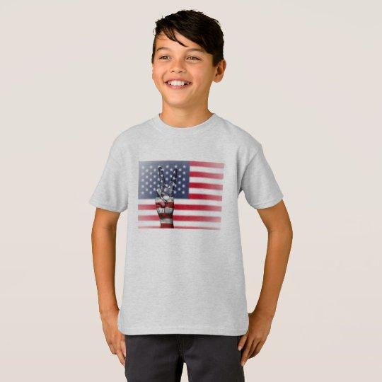 Camiseta EE.UU T-shirt Hanes TAGLESS® para niño., Ceniza