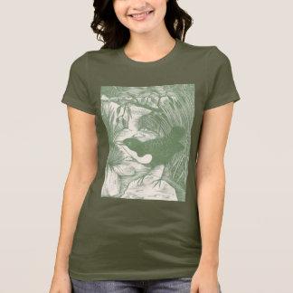 Camiseta Ejemplo del grabar en madera del pájaro del