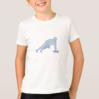 Camiseta El atleta de la aptitud empuja hacia arriba un