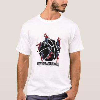 Camiseta El baloncesto nunca para
