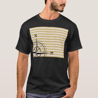 Camiseta El compás náutico NSEW raya el negro de color topo