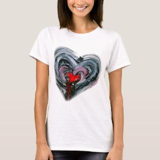 Camiseta El corazón negro y rojo T HACE DE NUEVO