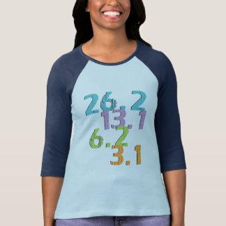 Camiseta el corredor se distancia 3,1, 6,2, 13,1 y 26,2