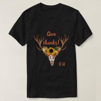 Camiseta El cráneo de la cabeza de los ciervos de la caída