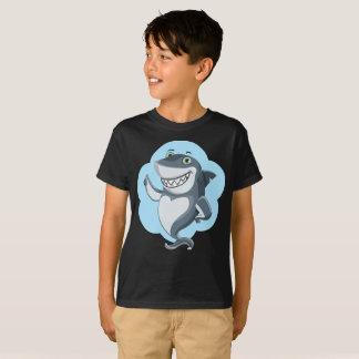 Camiseta El esquema de pie sonriente del tiburón azul