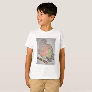 Camiseta el estirar Rojo-hinchado オウムパロット del loro
