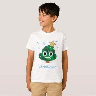 Camiseta El impulso Emoji del árbol de navidad embroma la