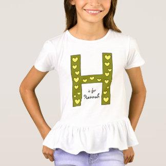 Camiseta El nombre de la letra H del chica personalizado
