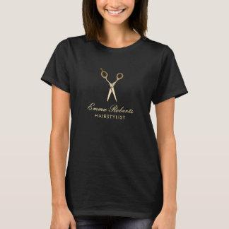 Camiseta El oro moderno del estilista Scissor el salón de