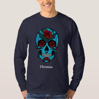 Camiseta El rosa personalizado del cráneo del azúcar de