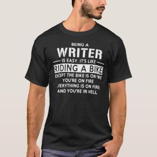 Camiseta El ser escritor es fácil como montar una bici