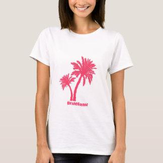 Camiseta El tanque rosado de la dama de honor de las palmas