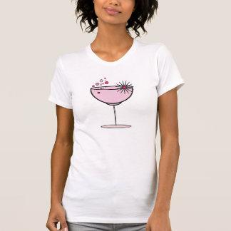 Camiseta El vidrio de las bebidas chispea y burbujea rosa