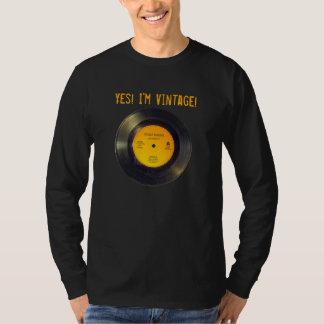 Camiseta El vintage del disco de vinilo corrige negro de la
