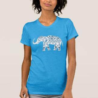 Camiseta Elefante azul modelado adornado
