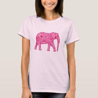 Camiseta Elefante de la flor - rosa del fucsia