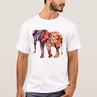 Camiseta Elefante psicodélico colorido del art déco
