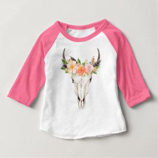 Camiseta elegante del raglán del cráneo de Boho y