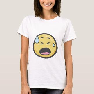 Camiseta Emoji: Cara con sudor frío