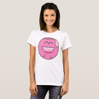 Camiseta Emoji rosado feliz