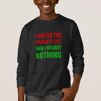 Camiseta En el pesar travieso de la lista de Santa del