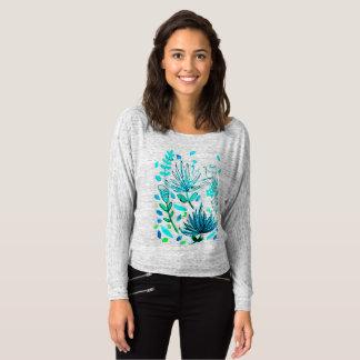 Camiseta envuelta larga con diseño de la flor de