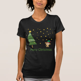 Camiseta Escena del navidad de la noche con el mono lindo