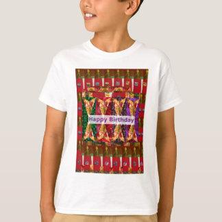 Camiseta Escritura del ARTE n del FELIZ cumpleaños: