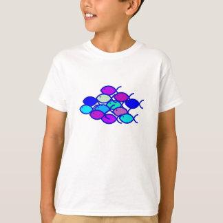 Camiseta Escuela cristiana de los pescados - púrpura y azul