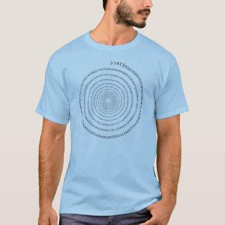 Camiseta Espiral de los dígitos del pi (texto negro)