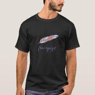 Camiseta Espíritu libre tribal bohemio de la pluma del rojo