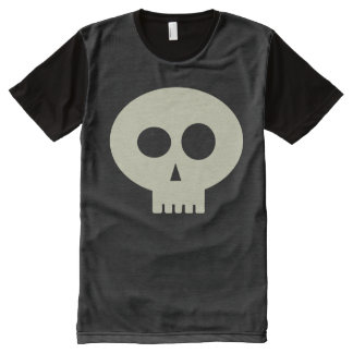 Camiseta esquelética linda del negro del cráneo de